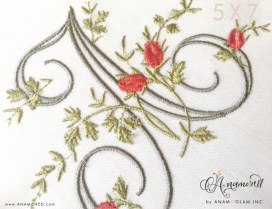 Letter A Fancy Floral Vine Monogram Sewout in 5 x 7 hoop