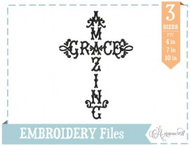Amazing Grace Embroidery Design Cross