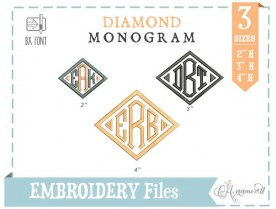 Diamond Embroidery Monogram 3 sizes
