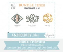 Bundle Embroidery Monogram Fonts Upright, Fancy Circle and Diamond