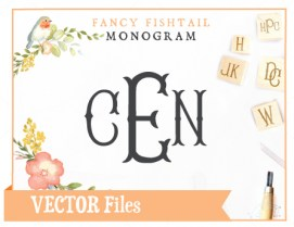 Fancy Fishtail Monogram SVG Vector Cuttable Font