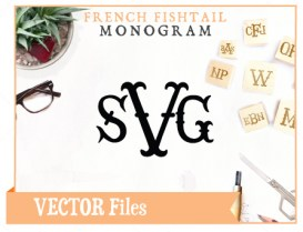 French Fishtail Monogram SVG Vector Cuttable Font