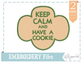 Keep Calm and Have a Cookie Applique Embroidery Design