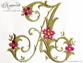 Letter A Fancy Floral Vine Monogram