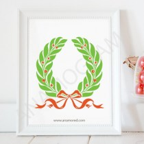 Laurel Berry Wreath with Bow SVG